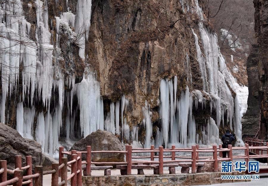 旅游奇观快来看:河南云台山出现冰瀑景观美景_图1-2