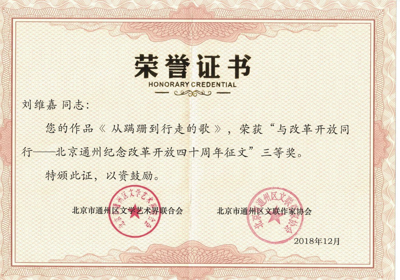 刘维嘉的《从蹒跚到行走的歌》荣获征文奖_图1-1