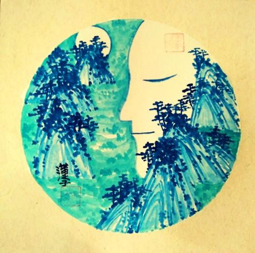 中国浪漫主义意象画派创始人张炳瑞香诗《思念成殇》_图1-1