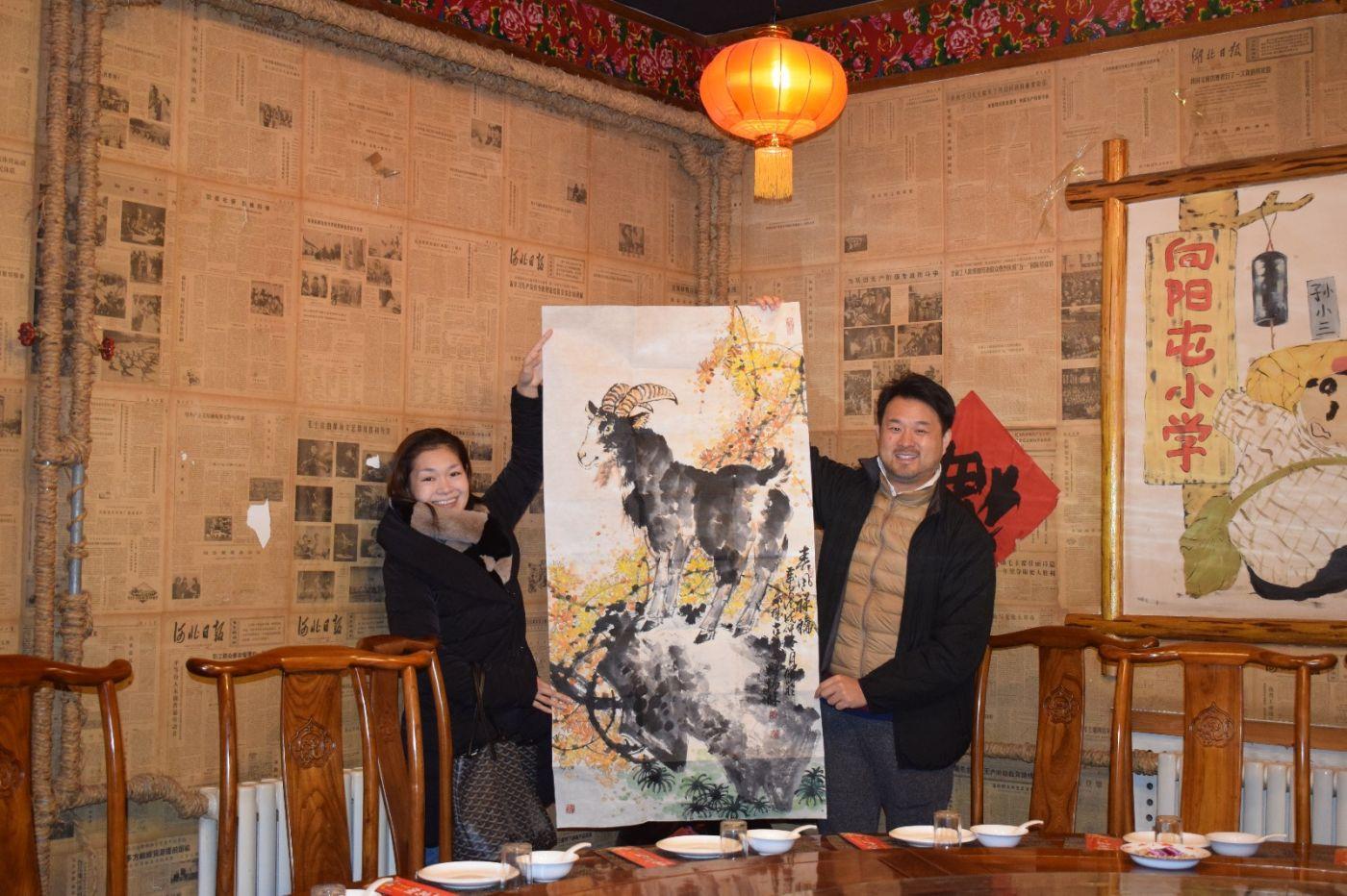 书画名家冯瑞林为日本友人赠画_图1-2