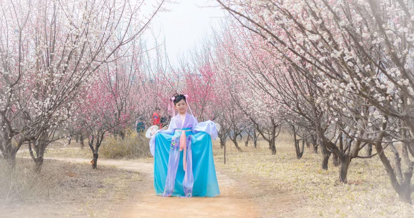 翟家小妮翟雅慧之春到梅园 花儿与少年系列 梅园尽显中国风_图1-3