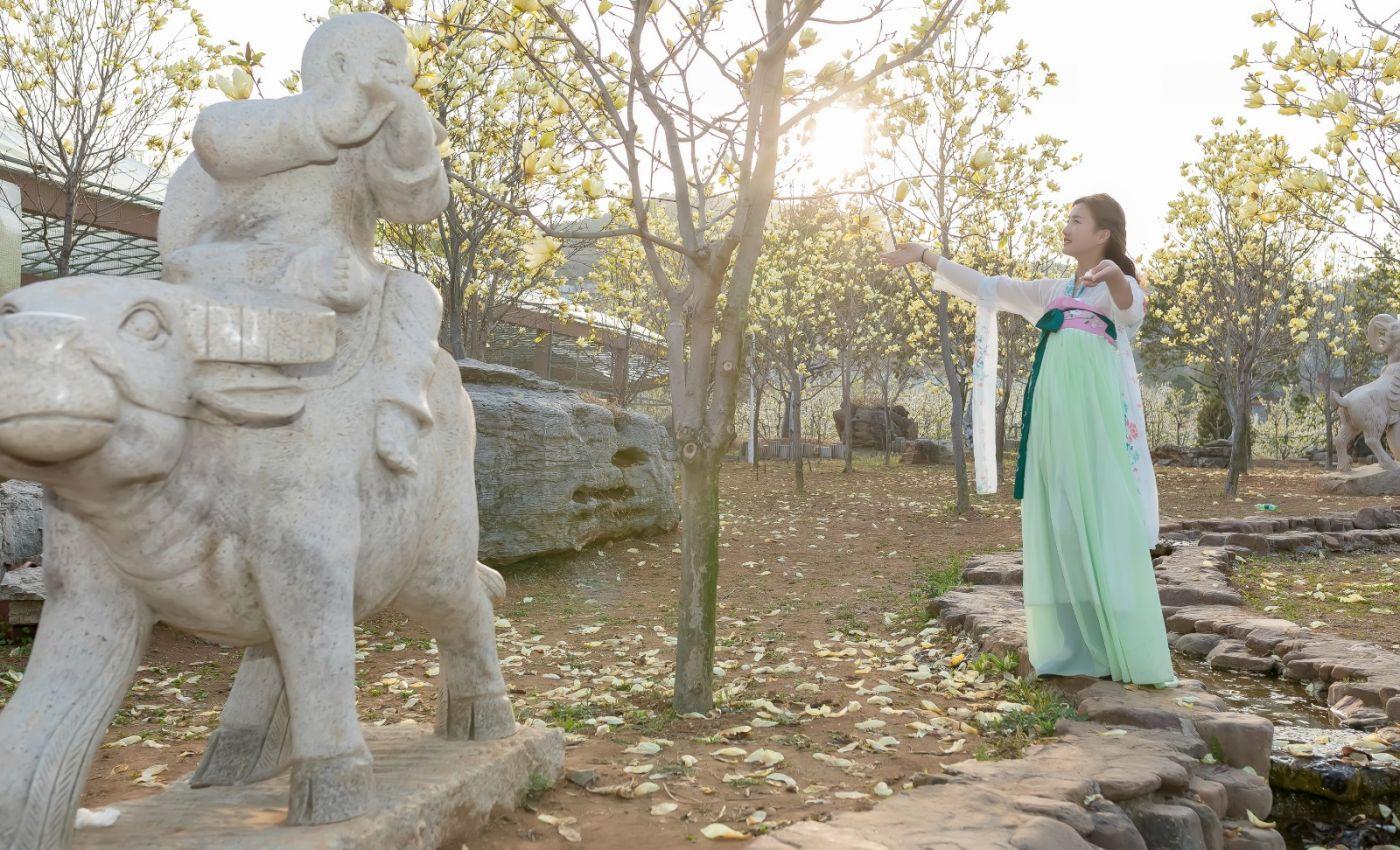 柿子妮又来了女孩越来越漂亮了穿上汉服的她在马泉花海中_图1-12