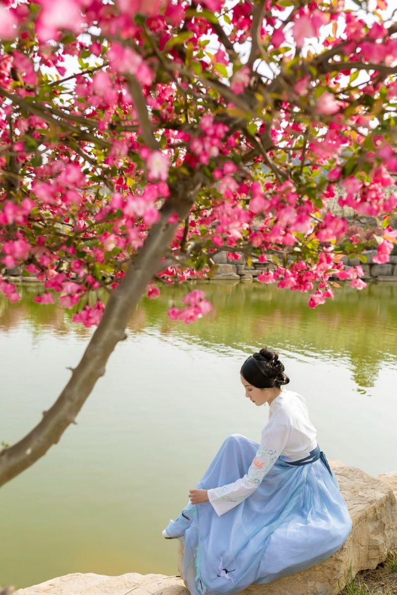 发现民族舞女孩吕锦涛 在樱桃花开白如雪的马泉翩翩起舞_图1-31