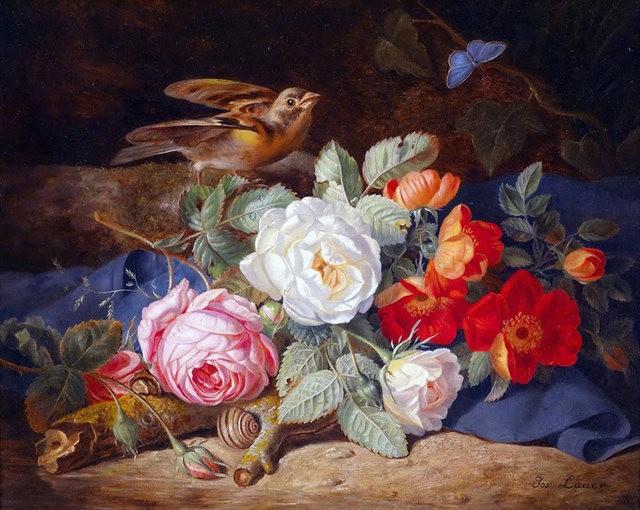 奧地利畫家Josef Lauer的花與水果作品_圖1-1