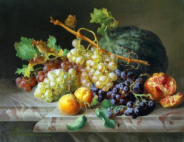 奧地利畫家Josef Lauer的花與水果作品_圖1-2
