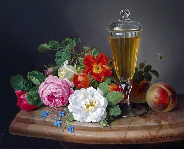 奧地利畫家Josef Lauer的花與水果作品_圖1-3