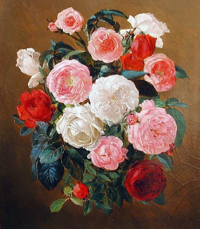 奧地利畫家Josef Lauer的花與水果作品_圖1-4