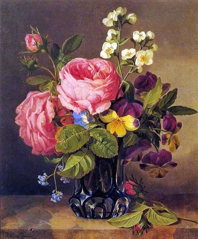 奧地利畫家Josef Lauer的花與水果作品_圖1-5