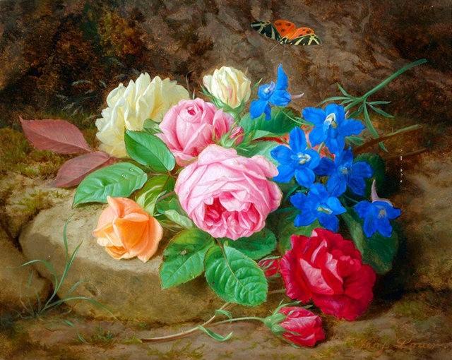 奧地利畫家Josef Lauer的花與水果作品_圖1-6