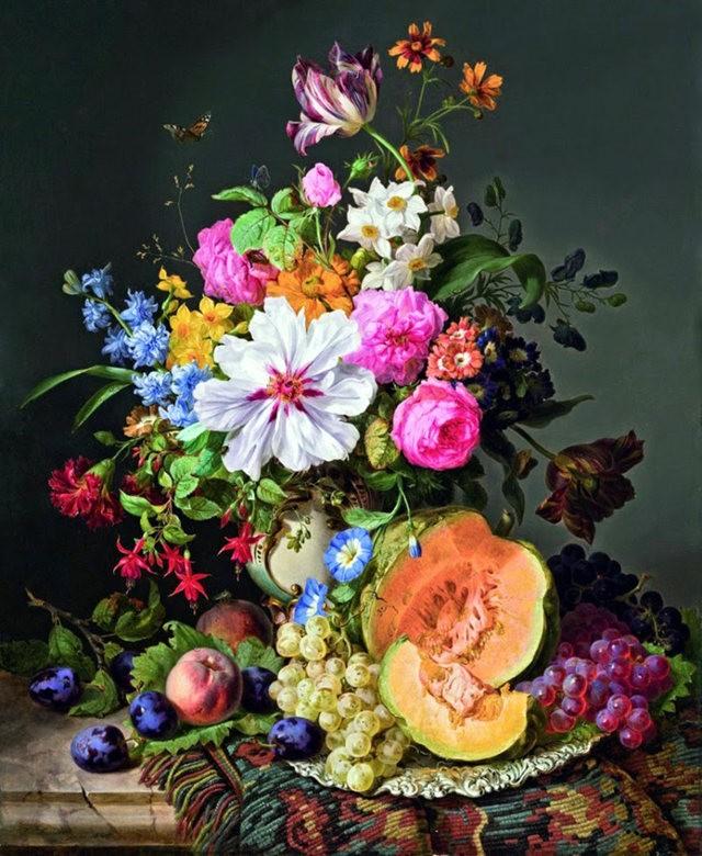 奧地利畫家Josef Lauer的花與水果作品_圖1-7