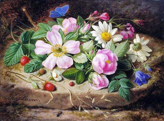 奧地利畫家Josef Lauer的花與水果作品_圖1-9