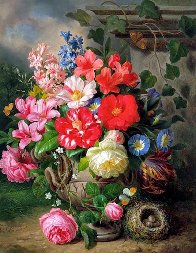 奧地利畫家Josef Lauer的花與水果作品_圖1-10