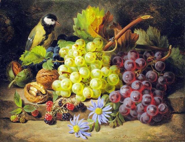 奧地利畫家Josef Lauer的花與水果作品_圖1-12