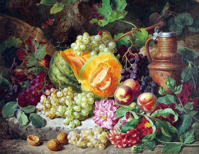 奧地利畫家Josef Lauer的花與水果作品_圖1-13