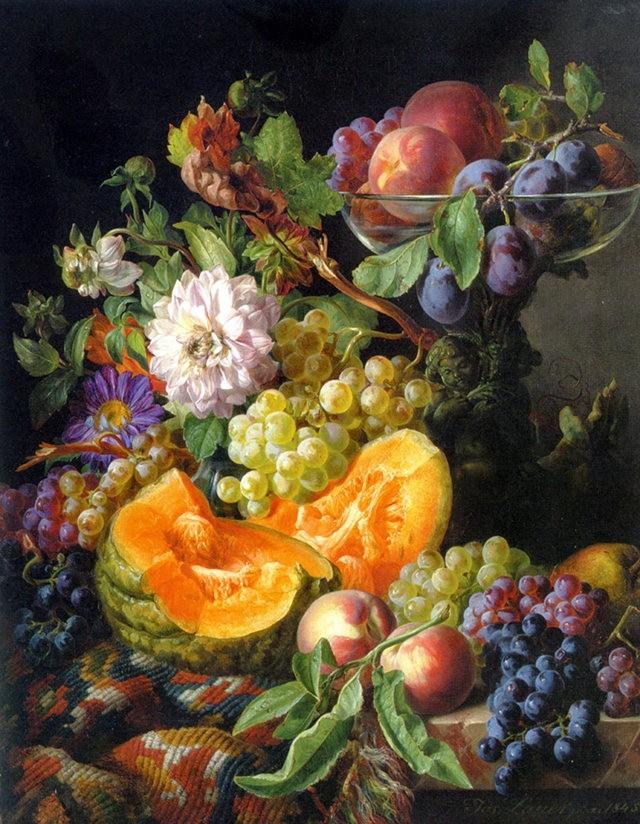 奧地利畫家Josef Lauer的花與水果作品_圖1-14