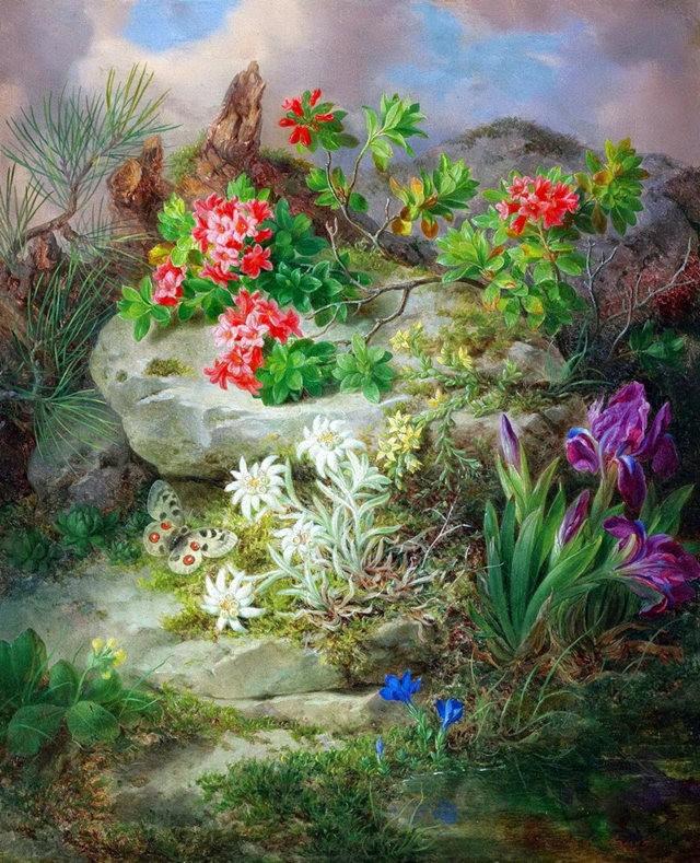 奧地利畫家Josef Lauer的花與水果作品_圖1-15