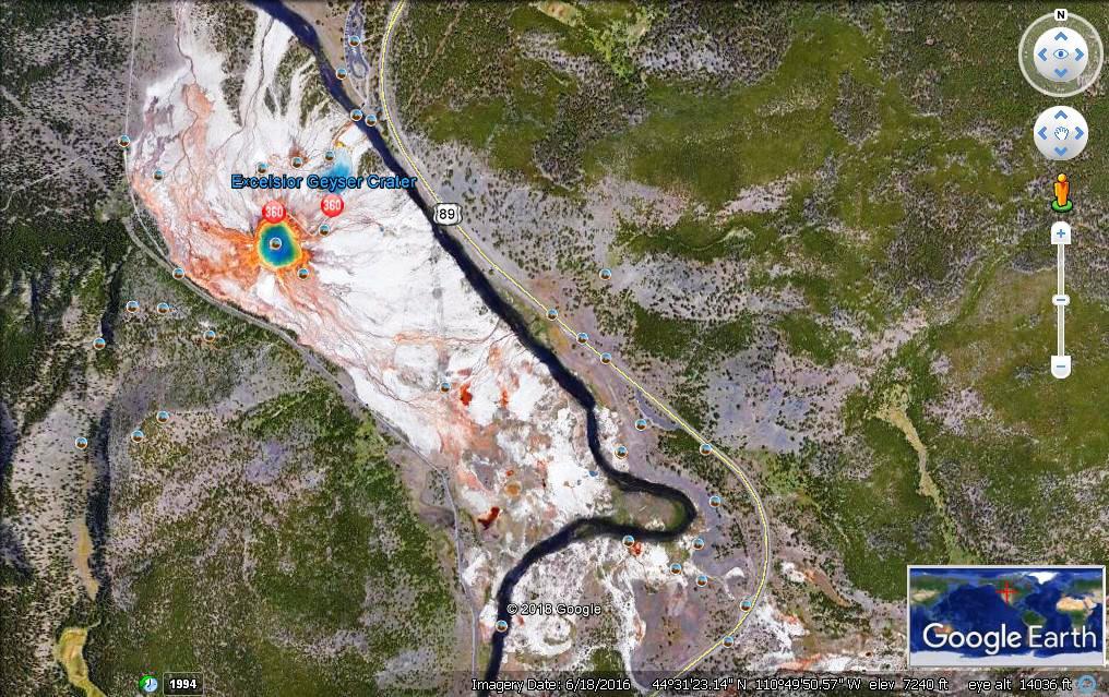 从卫星上观看黄石公园之大棱镜与牵牛花池_图1-2