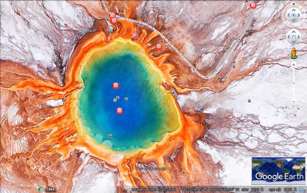 从卫星上观看黄石公园之大棱镜与牵牛花池_图1-4