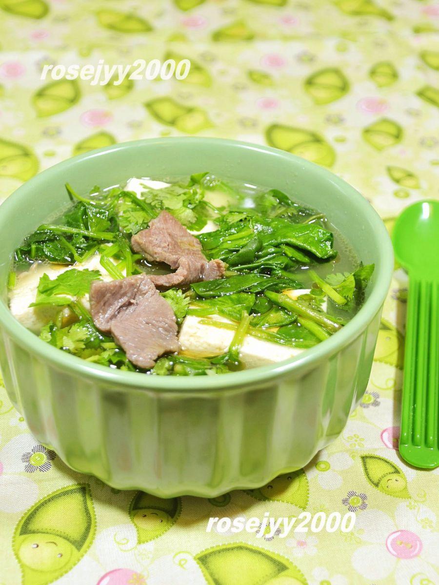 牛肉菠菜豆腐汤_图1-3
