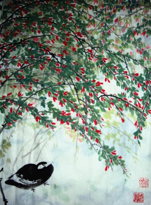 中国浪漫主义意象画派创始人张炳瑞香诗画作品《感恩》_图1-1