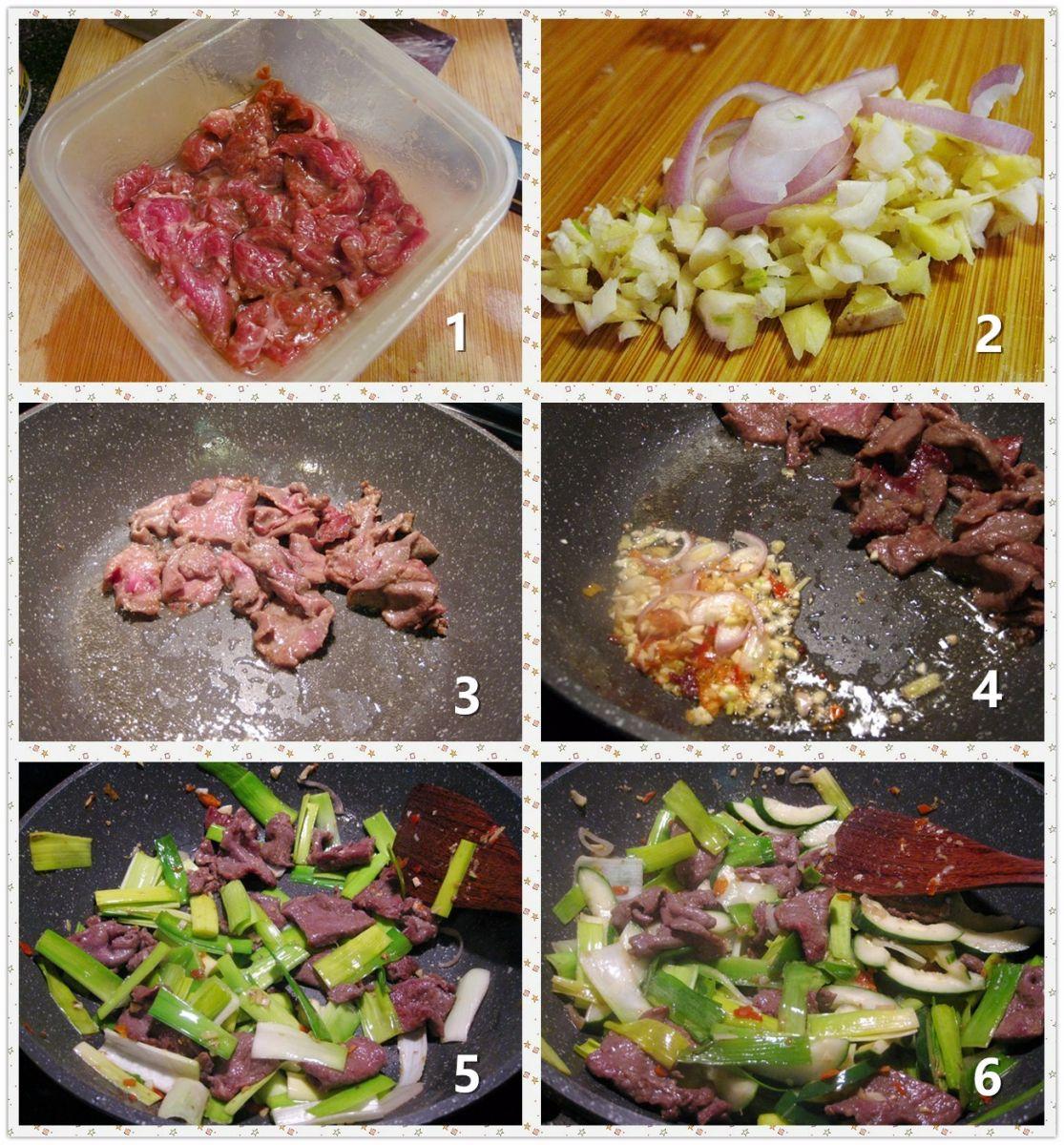 黄瓜蒜叶炒牛肉_图1-2