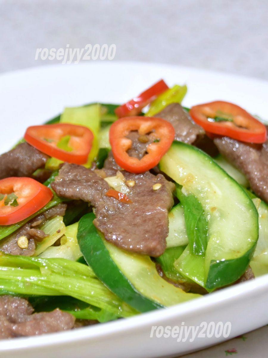 黄瓜蒜叶炒牛肉_图1-3