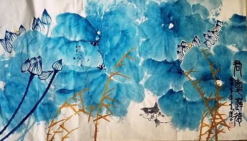 中国浪漫主义意象画派创始人张炳瑞香作品《天上清荷》_图1-1