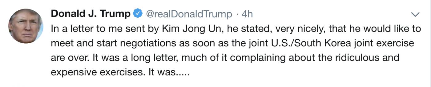 金正恩为试射导弹事向特朗普致歉?_图1-1