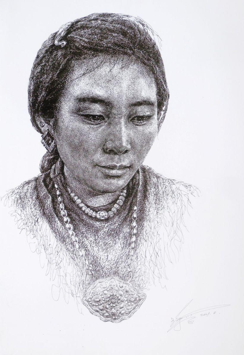 山雪钢笔画————戴金锁的姑娘_图1-1
