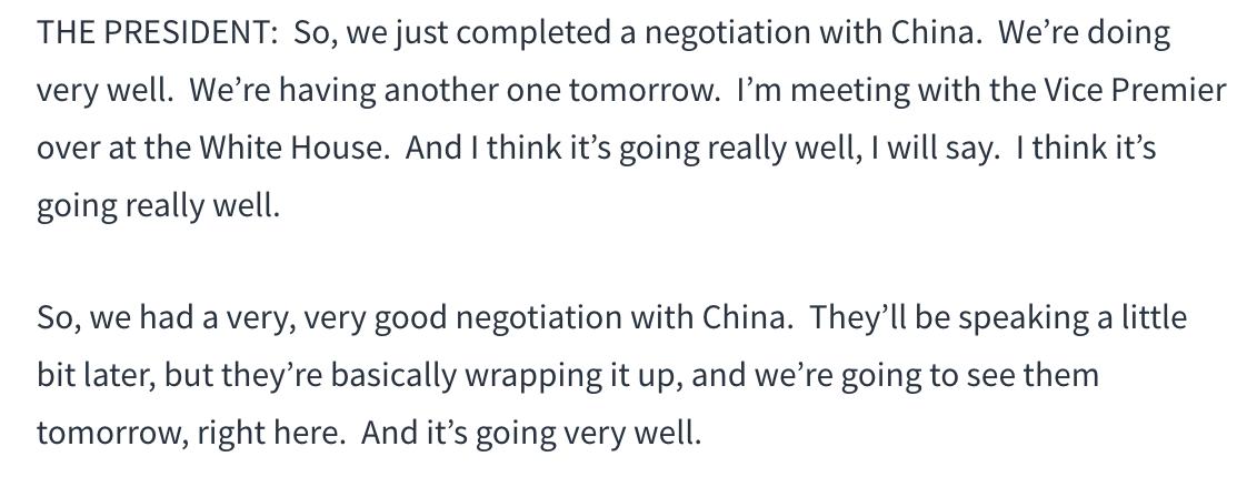 特朗普说中美贸易谈判进展非常顺利_图1-1