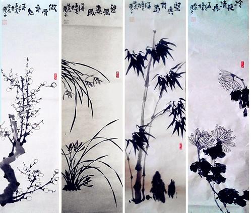 中国浪漫主义意象画派创始人张炳瑞香作品网上展《梅兰竹菊》系列 ..._图1-1