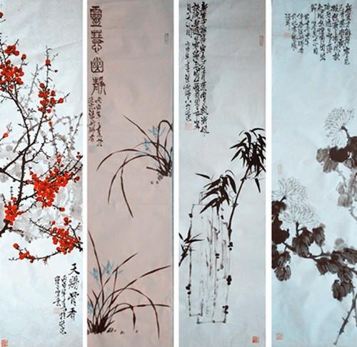 中国浪漫主义意象画派创始人张炳瑞香作品网上展《梅兰竹菊》系列 ..._图1-2
