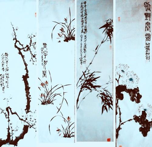 中国浪漫主义意象画派创始人张炳瑞香作品网上展《梅兰竹菊》系列 ..._图1-3