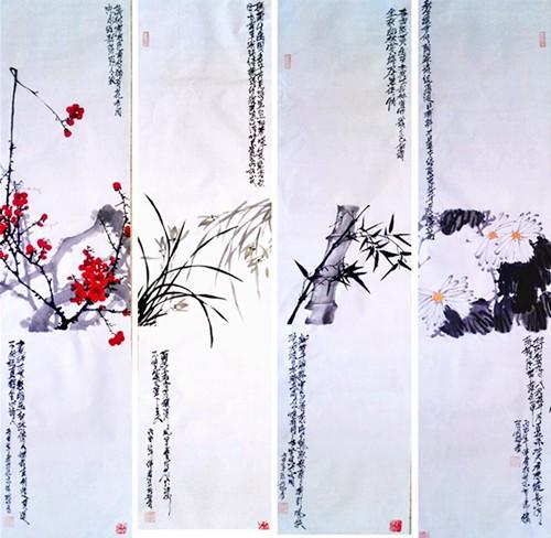中国浪漫主义意象画派创始人张炳瑞香作品网上展《梅兰竹菊》系列 ..._图1-4