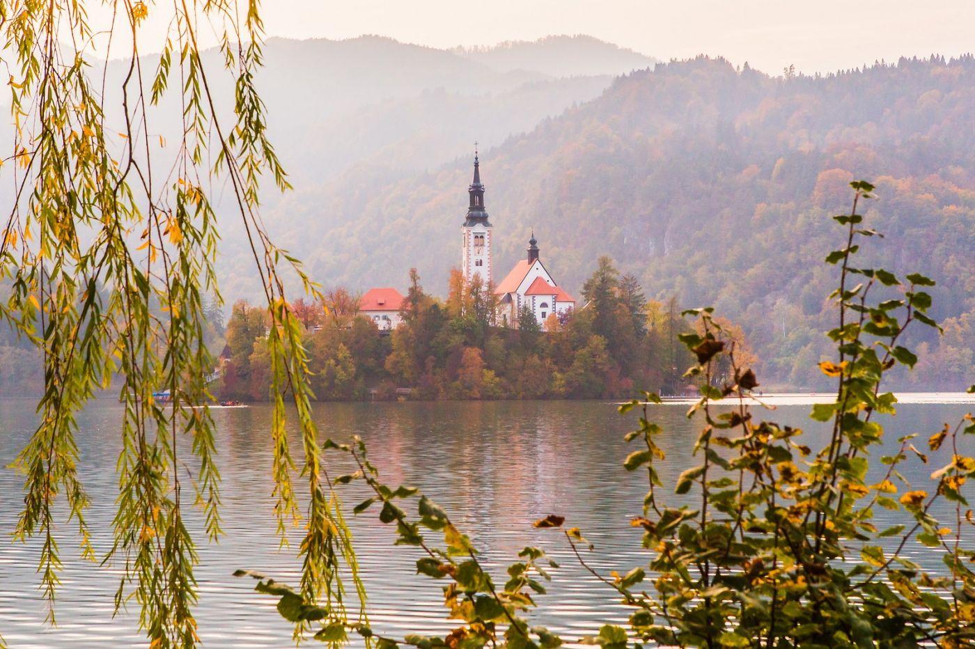 斯洛文尼亚布莱德湖(Lake Bled),湖中教堂_图1-6