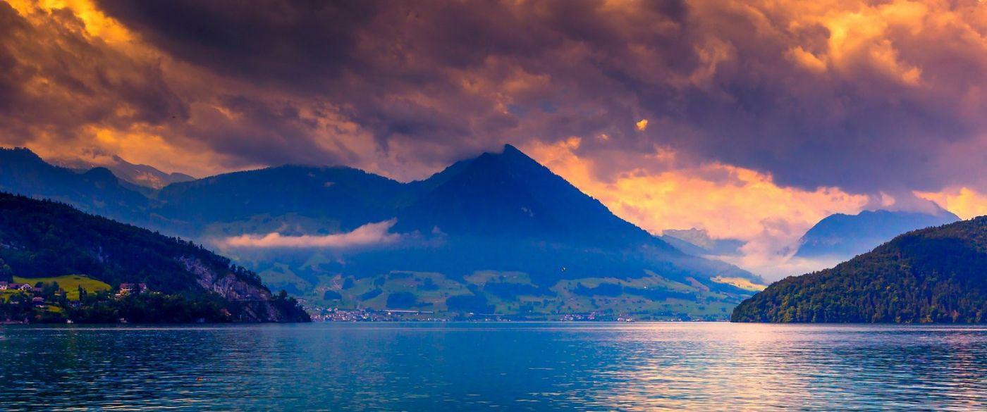 瑞士卢塞恩(Lucerne),湖边晚霞_图1-10