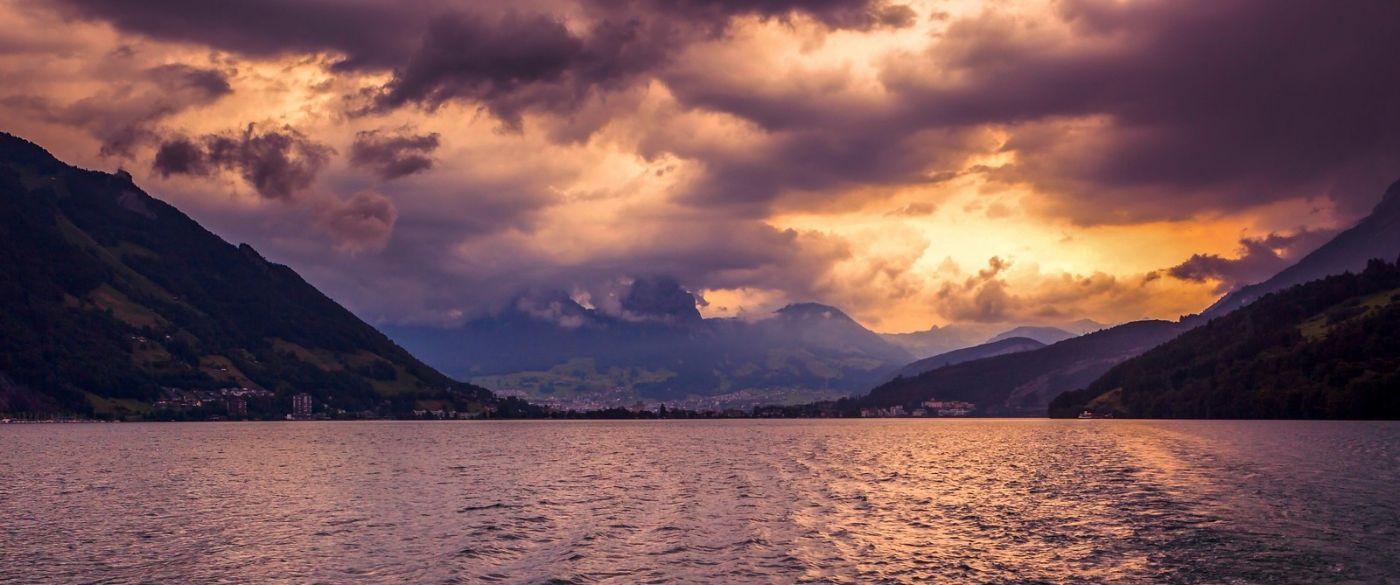 瑞士卢塞恩(Lucerne),湖边晚霞_图1-7