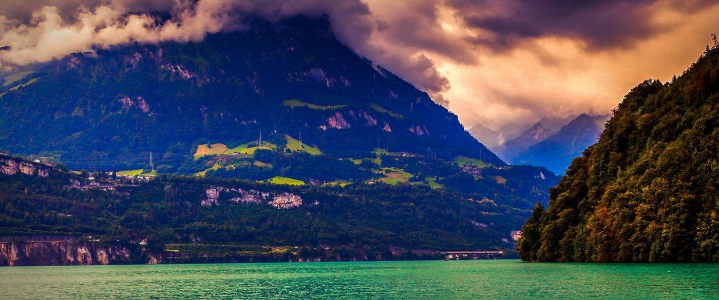 瑞士卢塞恩(Lucerne),湖边晚霞_图1-4