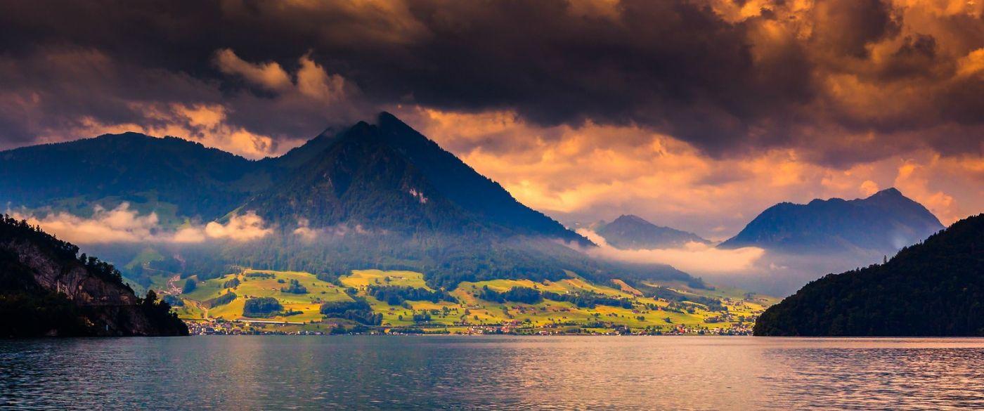 瑞士卢塞恩(Lucerne),湖边晚霞_图1-13