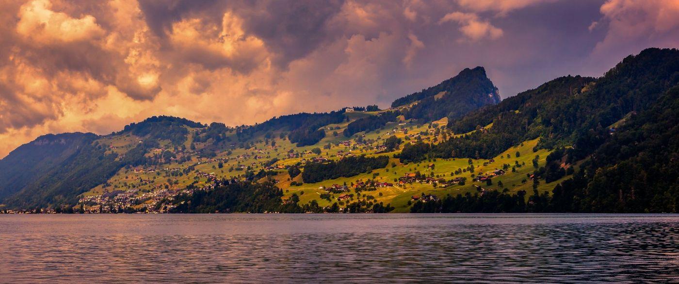 瑞士卢塞恩(Lucerne),湖边晚霞_图1-14