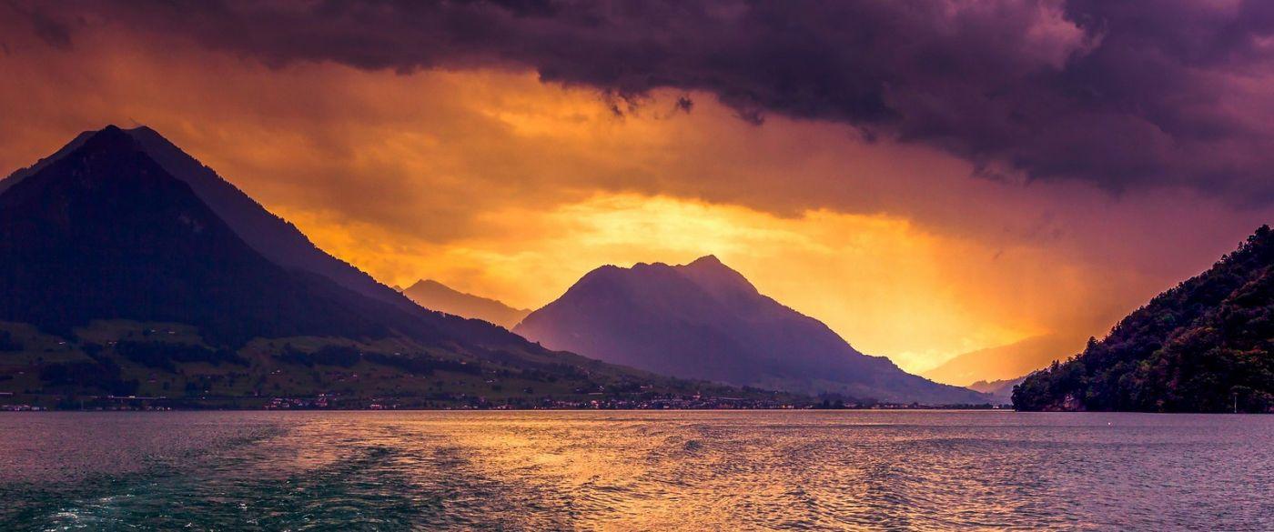 瑞士卢塞恩(Lucerne),湖边晚霞_图1-20