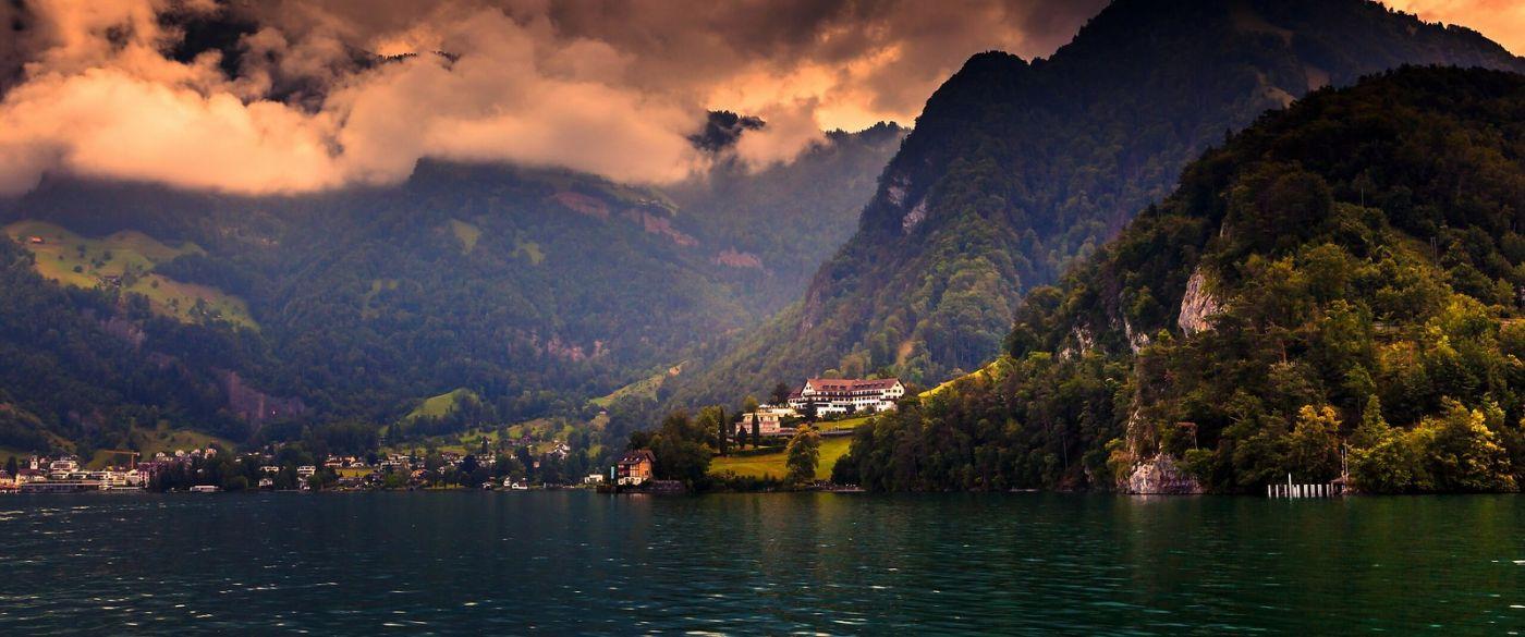 瑞士卢塞恩(Lucerne),湖边晚霞_图1-18