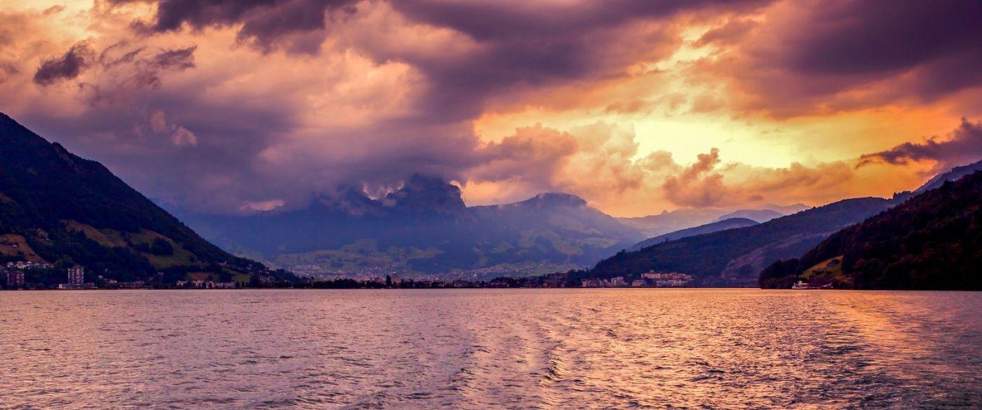 瑞士卢塞恩(Lucerne),湖边晚霞_图1-21