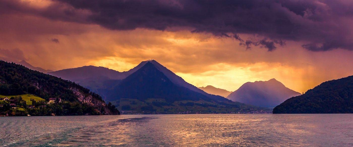瑞士卢塞恩(Lucerne),湖边晚霞_图1-22