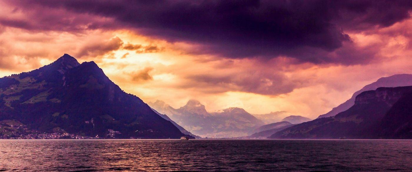 瑞士卢塞恩(Lucerne),湖边晚霞_图1-28