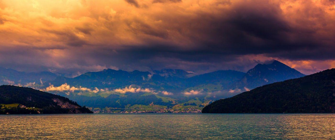 瑞士卢塞恩(Lucerne),湖边晚霞_图1-27