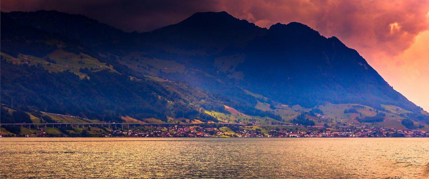 瑞士卢塞恩(Lucerne),湖边晚霞_图1-26