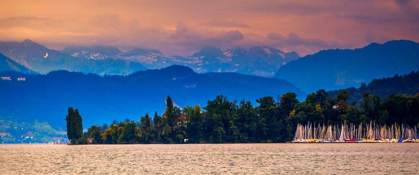 瑞士卢塞恩(Lucerne),湖边晚霞_图1-25