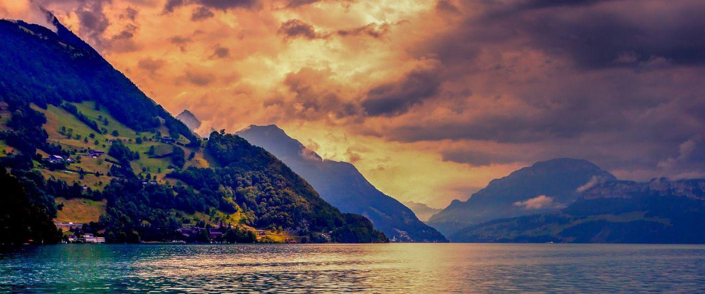 瑞士卢塞恩(Lucerne),湖边晚霞_图1-30