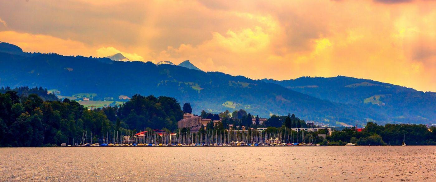 瑞士卢塞恩(Lucerne),湖边晚霞_图1-31